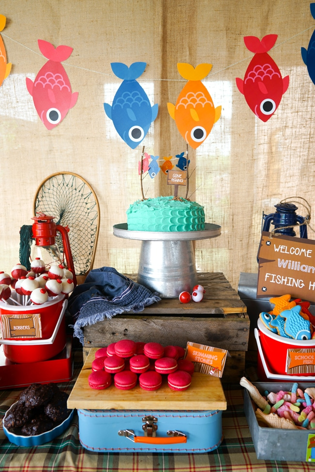 Most Popular Kids Party Themes Gone Fishing Dessert Table
