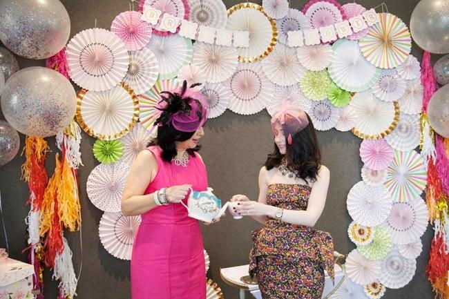 Floral High Tea Bridal Shower Photo Booth Backdrop
