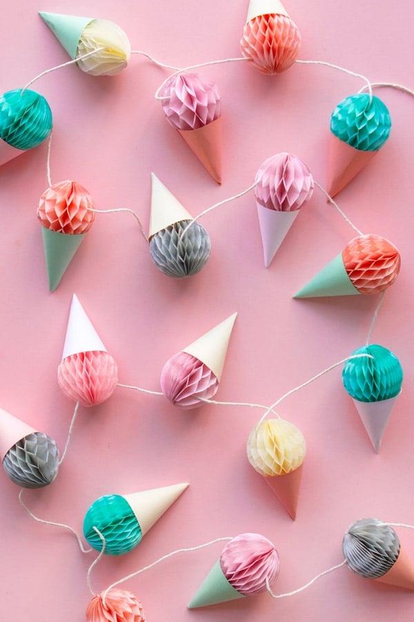 DIY Mini Ice Cream Cone Garland | Ice Cream Party Ideas