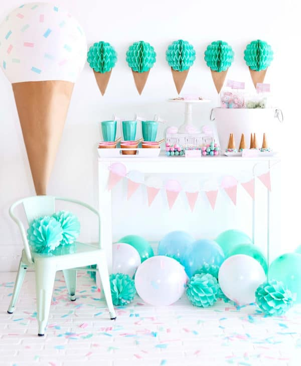 Pink and Mint Ice Cream Party Dessert Table | Ice Cream Party Ideas