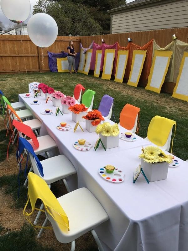 Backyard Art Party Idea | Art Themed Party Ideas