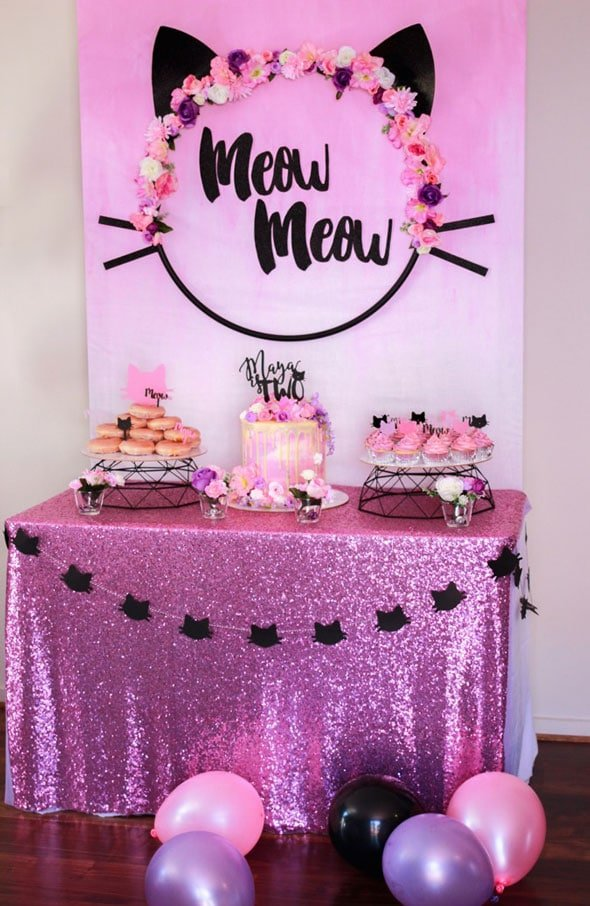 Glam Kitty Cat Dessert Table | Cat Party Ideas