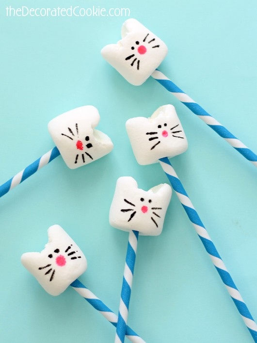 Kitty Cat Marshmallows on a Stick | Cat Party Ideas