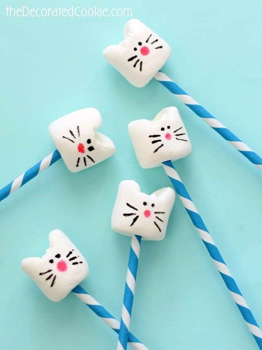 Kitty Cat Marshmallows on a Stick | Cat Party Ideas