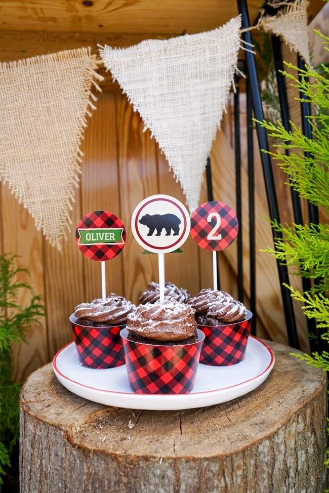 Lumberjack Party Cupcake Toppers