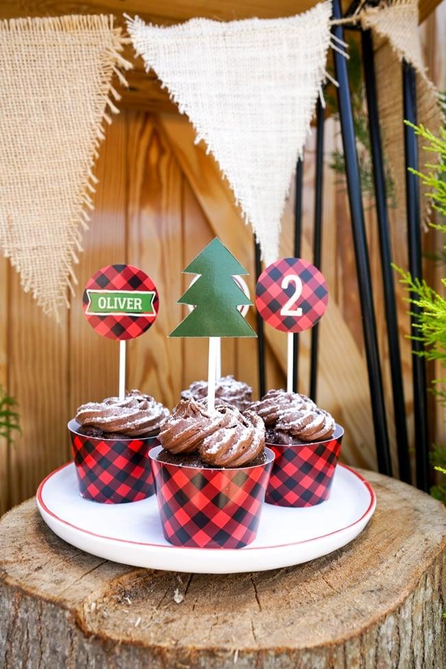 Lumberjack Party Cupcake Toppers
