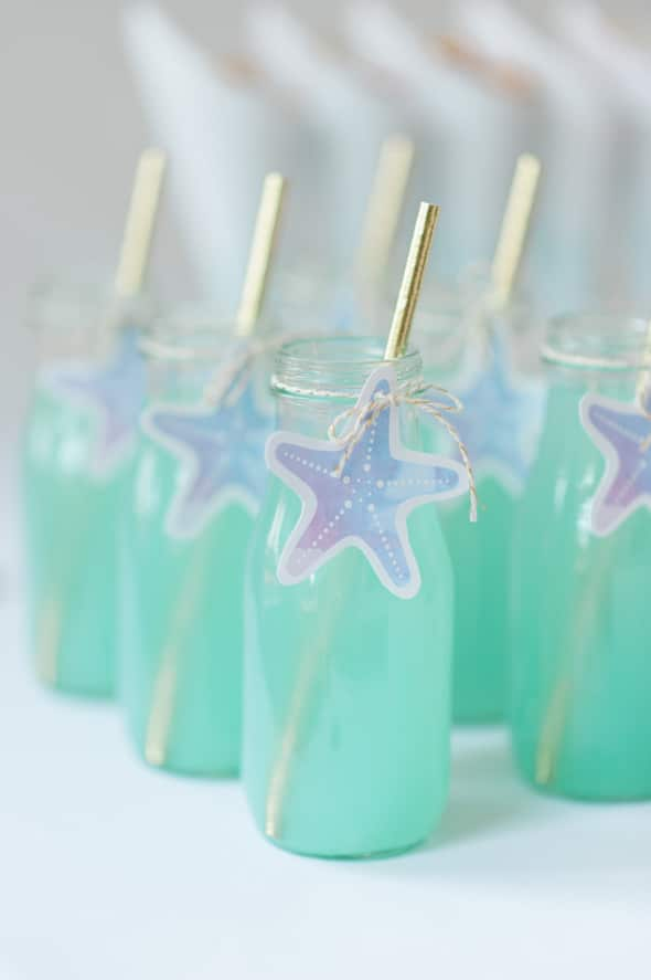 Gorgeous Mermaid Party Drinks with Seashell Tags