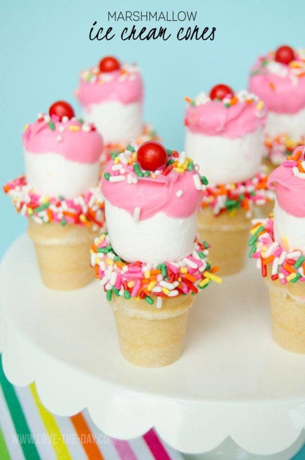Mini Marshmallow Ice Cream Cones | Ice Cream Party Ideas