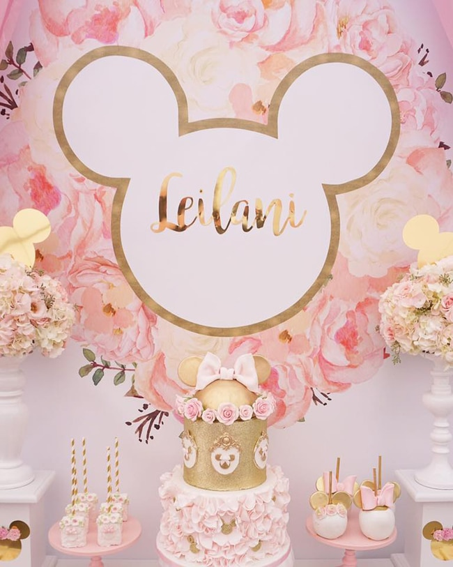 Pink and Gold Minnie Mouse First Birthday Party Dessert Table