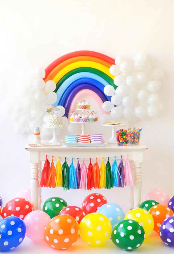 Over the Rainbow Party Dessert Table | Rainbow Party Ideas