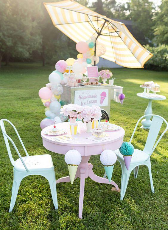 Kid's Pastel Ice Cream Party | Ice Cream Party Ideas
