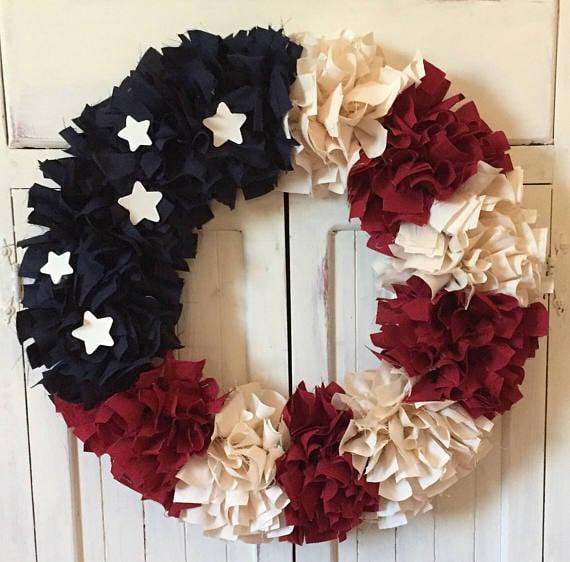 Patriotic Rag Wreath | Labor Day Party Ideas