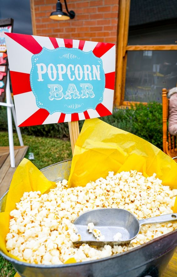 Popcorn Bar | Carnival Party Ideas