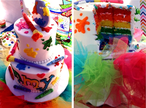 Rainbow Art Birthday Cake | Art Themed Party Ideas