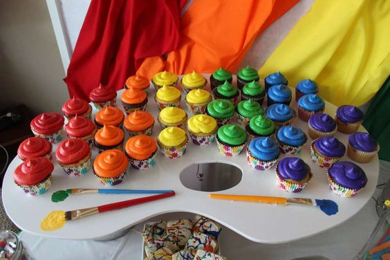 Rainbow Art Party Cupcakes | Art Themed Party Ideas
