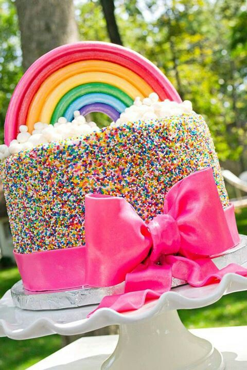 Rainbow Sprinkle Bow Cake | Rainbow Party Ideas