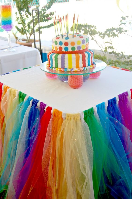 Rainbow Table Skirt | Rainbow Party Ideas