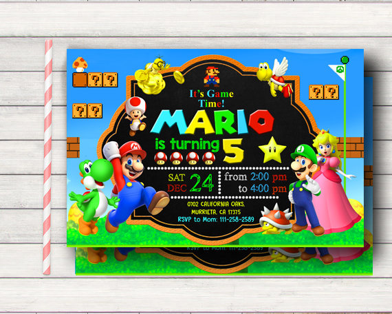 Super Mario Birthday Invitation - Super Mario Party Ideas