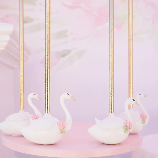 Pretty Swan Themed Birthday Cake Pops featured on Pretty My Party