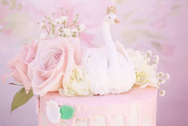 Pretty Swan Themed Birthday Cake featured on Pretty My Party