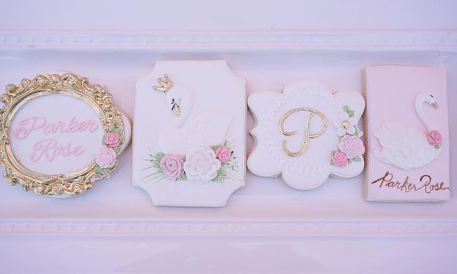 Pretty Swan Themed Birthday Cookies featured on Pretty My Party
