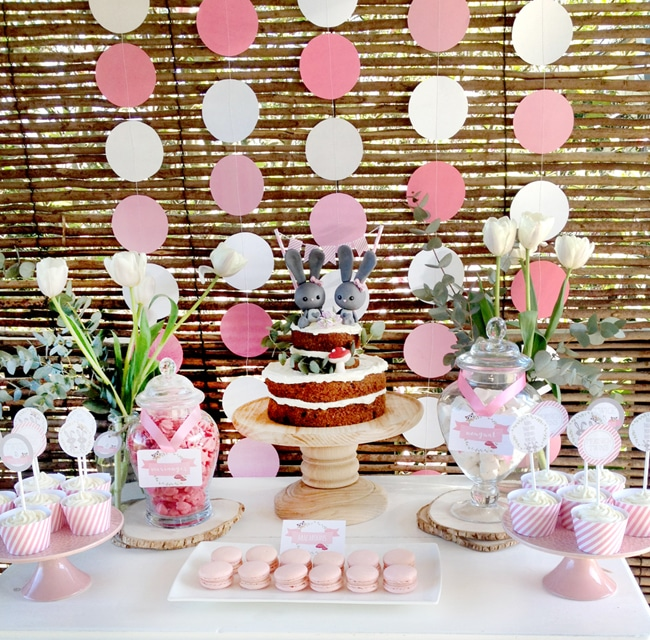 Most popular kids party themes: Twin Girls Bunny Dessert Table