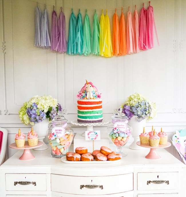 Most popular kids party themes: Unicorn Party Dessert Table