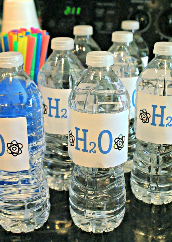 Water Bottle Labels | Mad Scientist Party Ideas