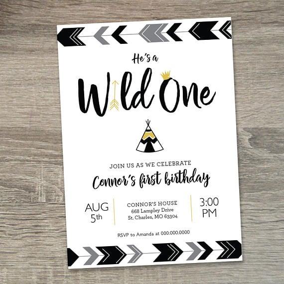 Wild One Party Invitation   Wild One Birthday Ideas