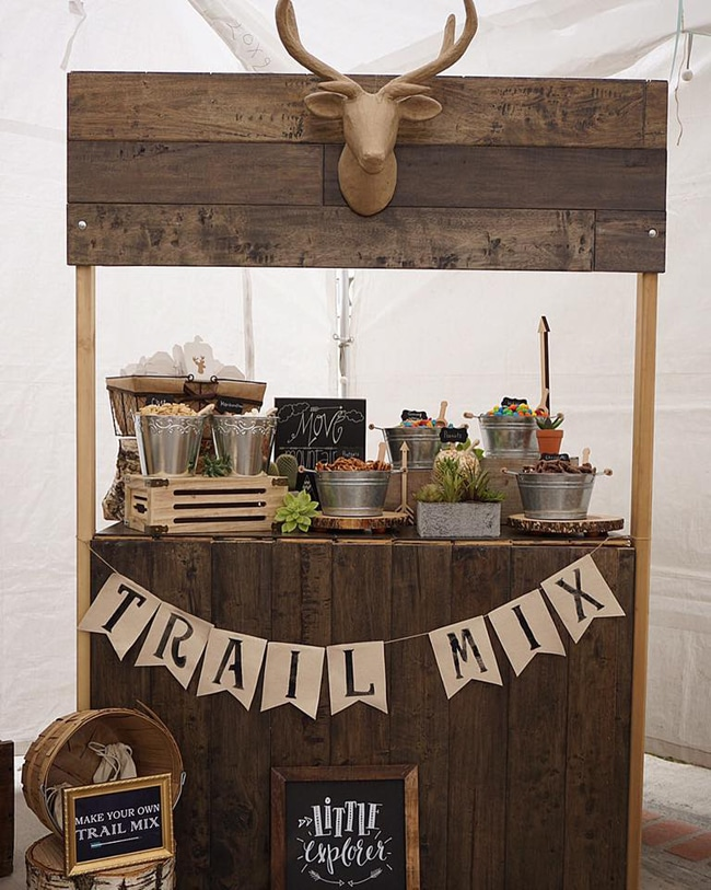 Trail Mix Bar for Wild One Themed Birthday Party featured on Pretty My Party