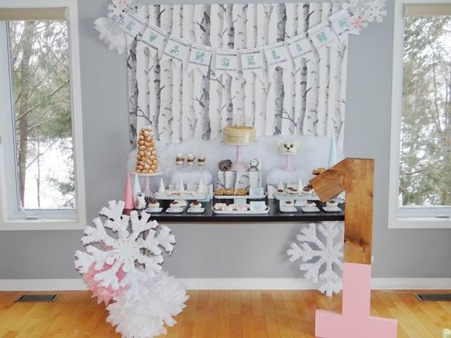 Winter Wonderland First Birthday Party Dessert Table
