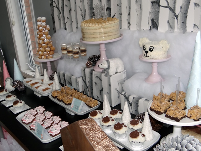 Winter Wonderland Party Sweets Table