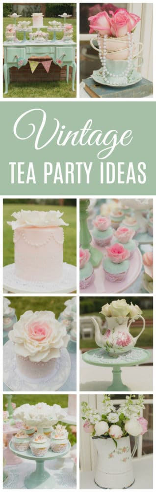 Mint and Pink Vintage Tea Party on Pretty My Party