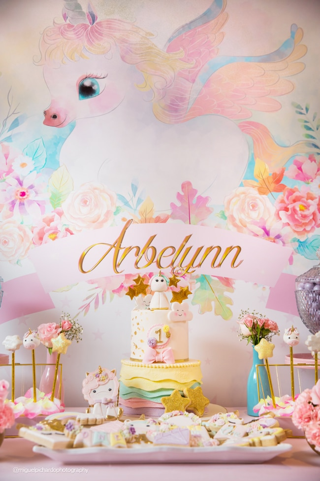 Baby Unicorn Themed First Birthday Party Dessert Table on Pretty My Party