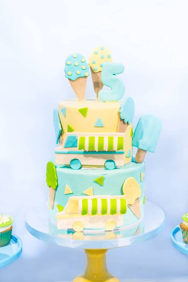 Boys Ice Cream Party Birthday Cake