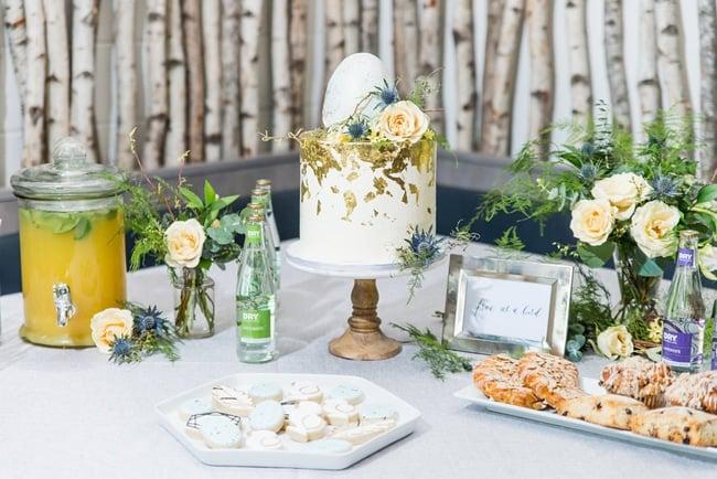 Little Bird Themed Baby Shower Cake Table