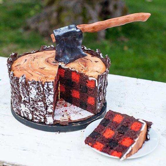 Plaid Lumberjack Cake | Lumberjack Party Ideas