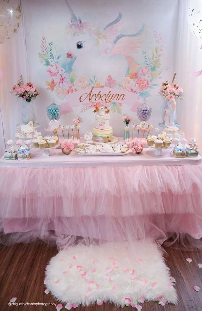 Baby Unicorn Themed First Birthday Party - Pretty My Party ...
