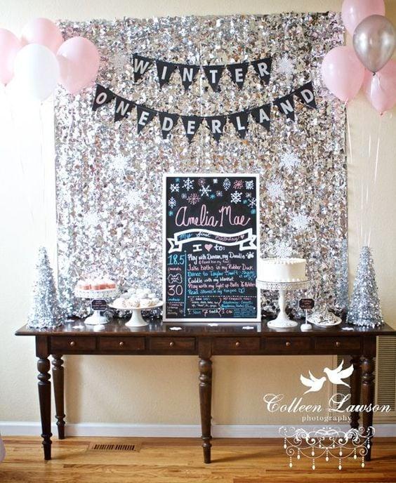 Sparkly Winter Wonderland Dessert Table | Winter Wonderland Party Ideas