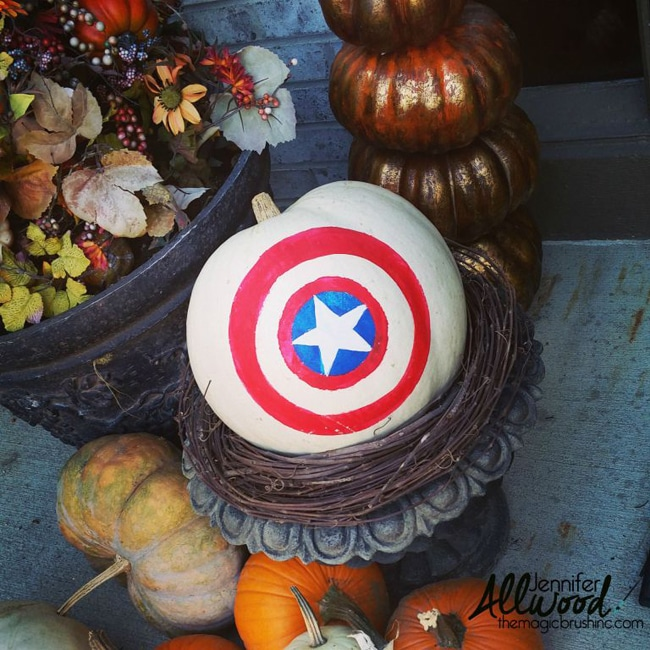 No Carve Captain America Painted Pumpkin for Kids