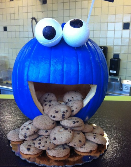 No Carve Cookie Monster Halloween Pumpkin