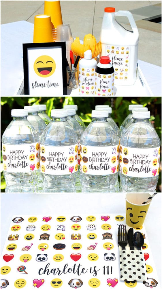 Awesome Emoji Themed 11th Birthday Party Placemat and Labels