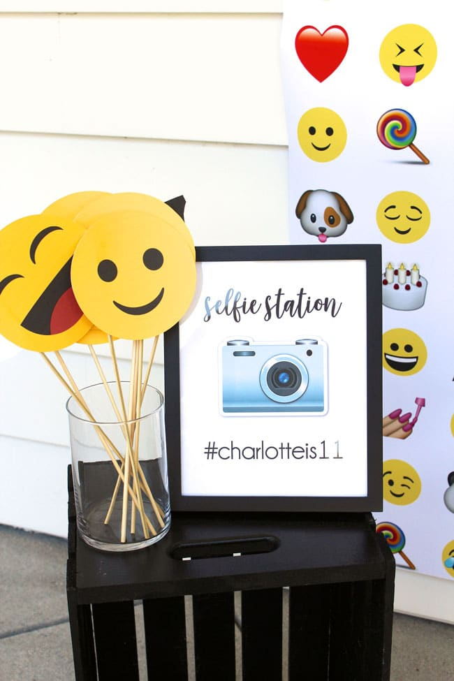 Awesome Emoji Themed 11th Birthday Party Selfie Station