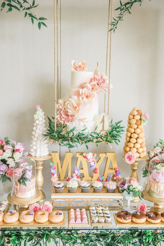 Garden Party Sweets Table on Pretty My Party