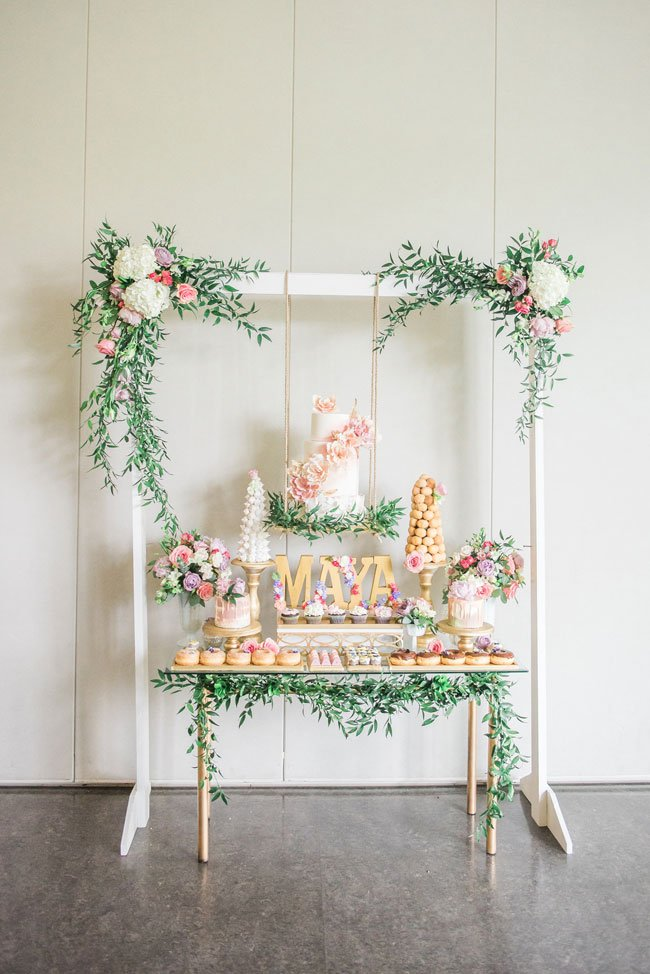 Gorgeous Garden Party Dessert Table on Pretty My Party