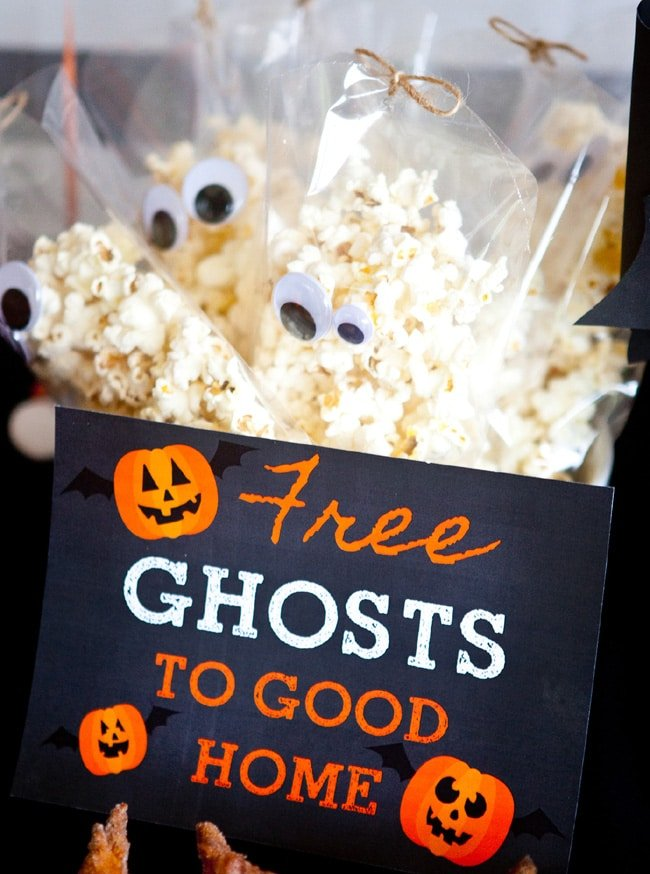 Free Ghosts To A Good Home Popcorn - Healthy Halloween Snacks