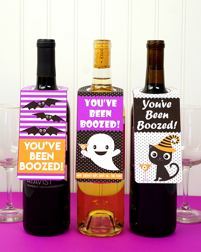 Free You've Been Boozed Halloween Wine Tags