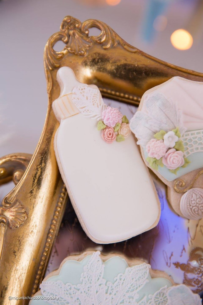 Gorgeous Marie Antoinette Baby Shower Cookies - Pretty My Party