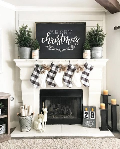 Black and White Holiday Fireplace Mantel
