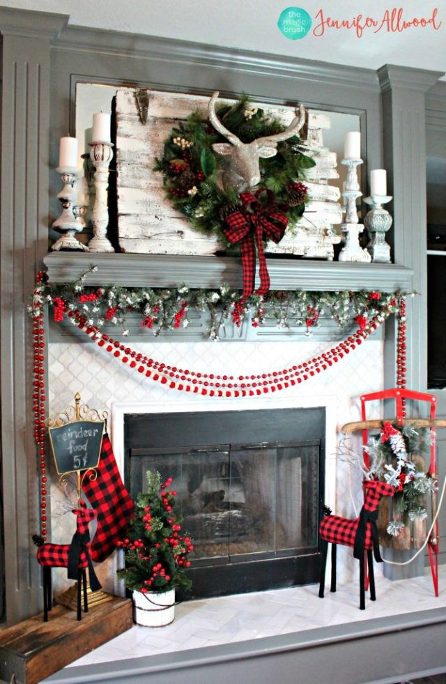 Buffalo Check Christmas Fireplace Mantel